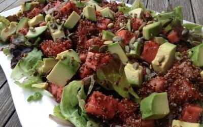 Quinoa salade met watermeloen en avocado