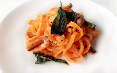Kerstmenu: spaghetti van wortel met knolselderij carbonara saus