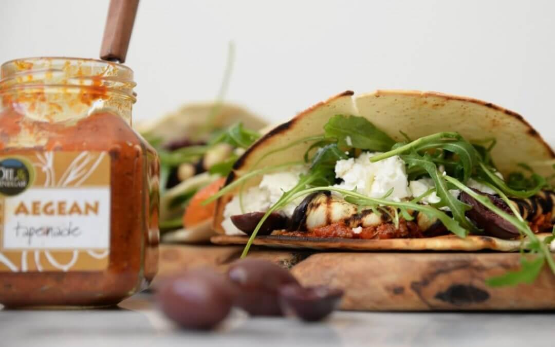 Paasmenu: Piadine met tapenade, olijven, gegrilde aubergine en feta