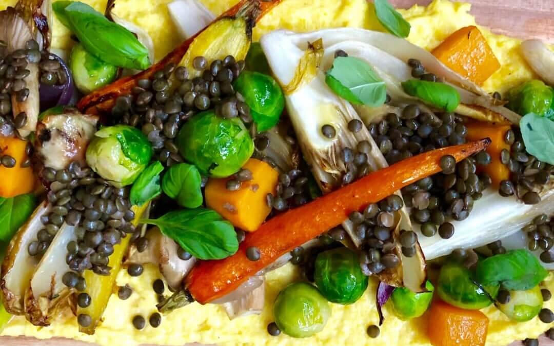 Polentaplank met geroosterde groenten