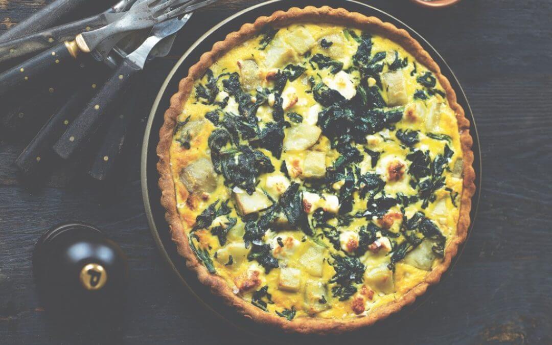 Scandinavische keuken: quiche met spinazie, aardpeer en feta