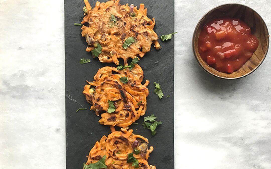 Zoete aardappel-chili schijfjes